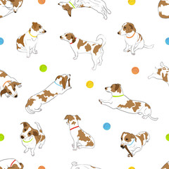 Seamless pattern with cute outline hand drawn spotted dog in different poses with colorful collar and ball isolated on a white background