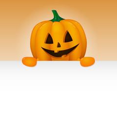 Halloween - banner with funny 3d pumpkin and copyspace. Vector.