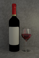 3D rendering of red wine glass and red wine bottle
