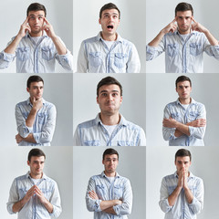 Mosaic, set, collage or collection of handsome young European man wearing stylish denim shirt expressing different emotions in studio. Emotional guy showing various feelings, making gestures or signs