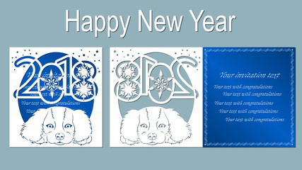 Text - happy New Year. Number 2018 with cute and funny cartoon puppy. Symbols of the years on the Chinese calendar. Vector illustration. Laser cut template. Metal, paper or wood carving pattern.
