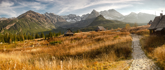 Fototapeta Hala Gąsienicowa w Tatrach, pora roku - jesień