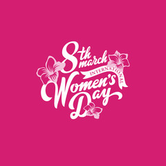 8 March Women's Day Text Lettering calligraphic vector vintage