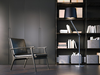 Modern interior with black armchair. 3d rendering
