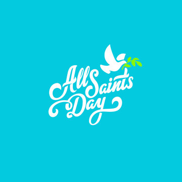 All Saints Day Text Lettering calligraphic vector Poster