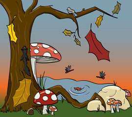 Autumn scene with mushrooms, falling leaves, dragonflies, a bird on a branch, and a squirrel climbing the tree.