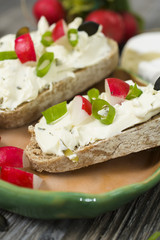 cream cheese for bread, high quality healthy breakfast on the old rustic table