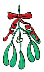 Mistletoe tied with a red ribbon.