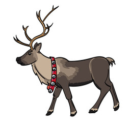 Reindeer with a belt of silver bells.