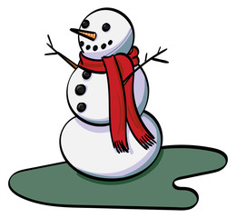 Snowman with a red scarf.