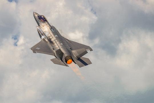 The Lockheed Martin F-35 Lightning II from Stewart International Airport during the New York Airshow.