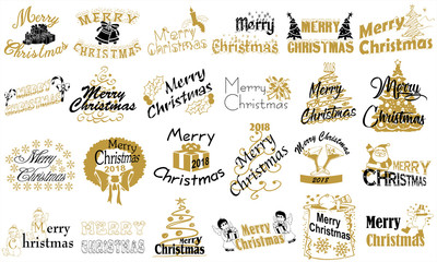 Merry Christmas. Typography set. Vector logo, emblems, text design. Usable for banners, greeting cards, gifts etc.