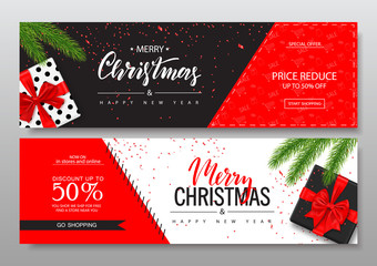 Merry Christmas Horizontal Banners Set With gift boxes. Vector Illustration. Happy New Year Concept. Season sale. Concept for web banners and promotional materials.