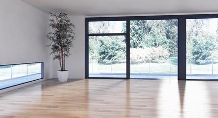 Modern bright interiors empty room. 3D rendering illustration