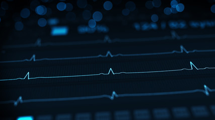 Medical monitor with blue lines of ECG rendering with DOF