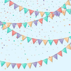 Bunting flags. Memorable celebration card. Colorful holiday decorations and confetti. Bunting flags vector illustration.