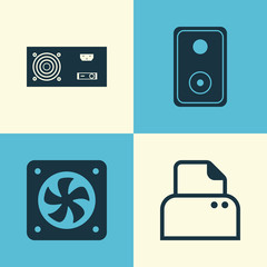 Computer Icons Set. Collection Of Power Generator, File Scanner, Audio Device And Other Elements. Also Includes Symbols Such As Power, Energy, Speaker.