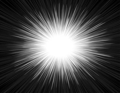 Light rays of an explosion with a radial zoom in a comic book style. Shine radiant manga background in black and white colors. The emission of luminous energy in the Big Bang. Vector illustration.