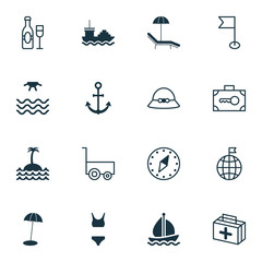 Travel Icons Set. Collection Of Security Baggage, Relax Chair, Reef And Other Elements. Also Includes Symbols Such As Boat, Compass, World.