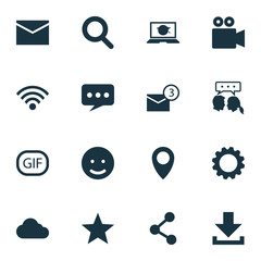 Internet Icons Set. Collection Of Publish, Camcorder, Magnifier And Other Elements. Also Includes Symbols Such As Magnifier, Overcast, Web.