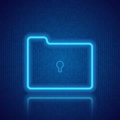 Folder on the background of digital data. Vector illustration .