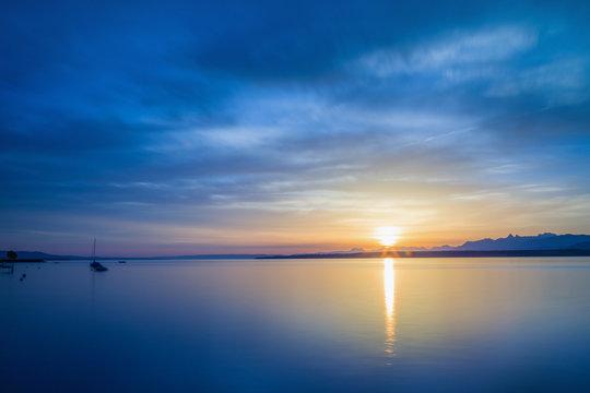 Beautiful sunrise at the lake Geneva Switzerland