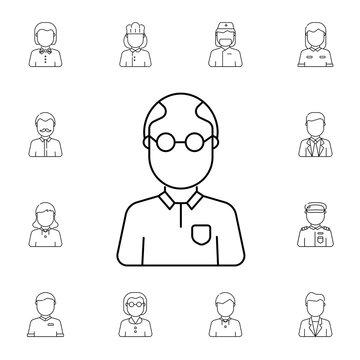 Teacher avatar, Set of avatar icons