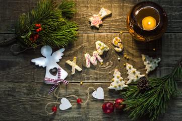Christmas food, cookies in Christmas setting. Xmas dessert