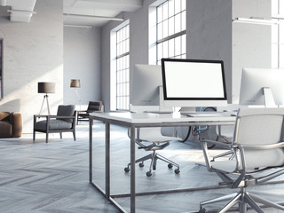 Coworking loft interior with modern computers. 3d rendering