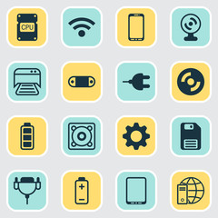 Computer Icons Set. Collection Of Connector, Radio Set, Internet Network And Other Elements. Also Includes Symbols Such As Full, Cd, Sound.