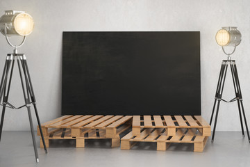 Room with empty blackboard billboard and lighting