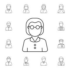 Teacher woman avatar. Set of avatar icons