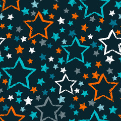 abstract seamless stars pattern. Grunge urban stars background in black and white colors for girls, boys, childish, fashion and sport clothes. Silhouette stars repeated backdrop.