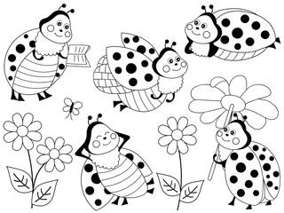 Vector Set of Cute Cartoon Ladybugs