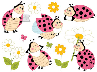 Vector Set of Cute Cartoon Ladybugs