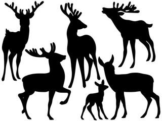Vector Silhouettes of Deers