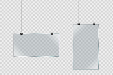 Vector set of isolated realistic hanging glass billboards on the transparent background for decoration and covering.