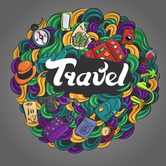 set of images about travel with pattern, vector illustration