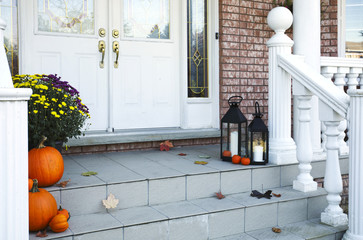 Traditional styled home decorated in autumn decore.