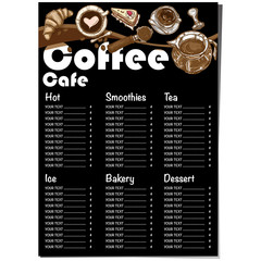 menu coffee shop restaurant template design hand drawing graphic
