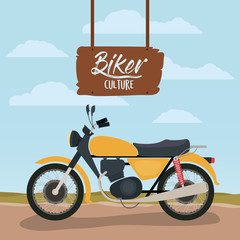 biker culture poster with classic motorbike in yellow color