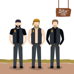 biker culture poster with standing men motorcyclists with beards and leather jackets