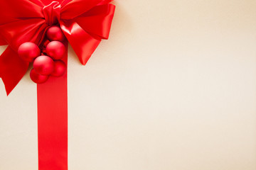 Christmas background with Bow and Ribbon border