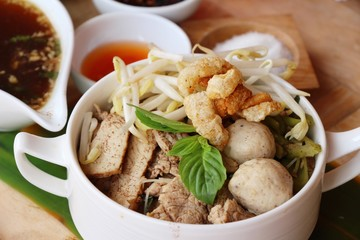 Pork noodle with vegetable and soup delicious