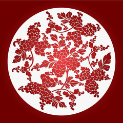 Chinese Paper-Cut Background, Peony