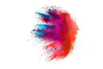 Splash of colorful powder over white background.