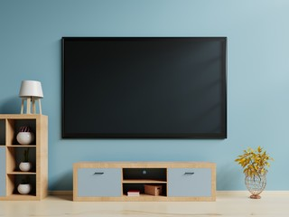 TV in live room and wall dark blue,3D Rendering