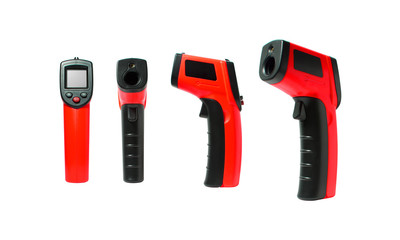 Infrared thermometer tools are many view used measuring temperature in a working job on industry factory and general worked, Tools isolated on white background, Electronic tools concept.