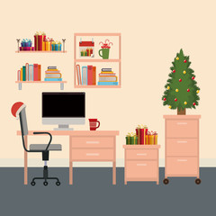 christmas office workplace scene with christmas tree and gifts