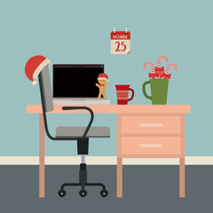 christmas simple office workplace scene with christmas decoration and wall in light cyan color